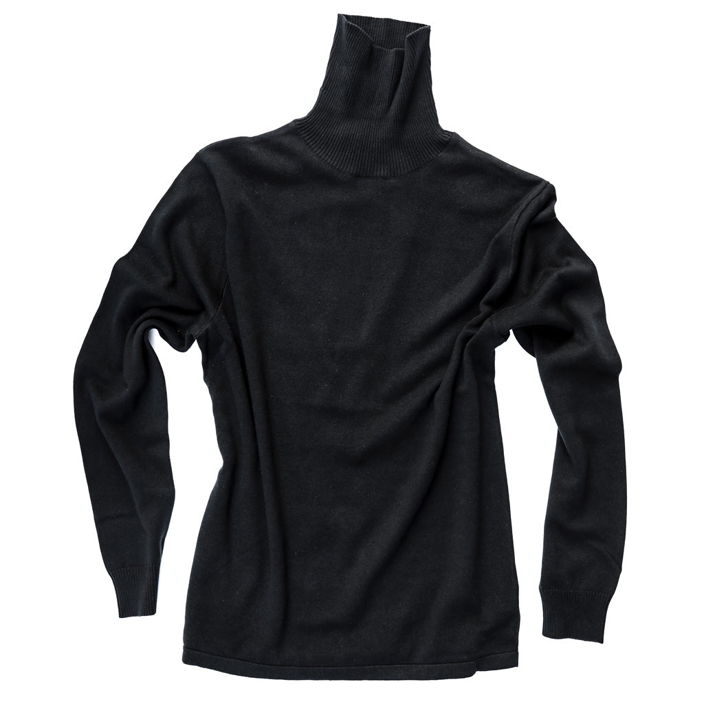 Men's Fitted Cotton Turtleneck Sweater - Bird's Eye