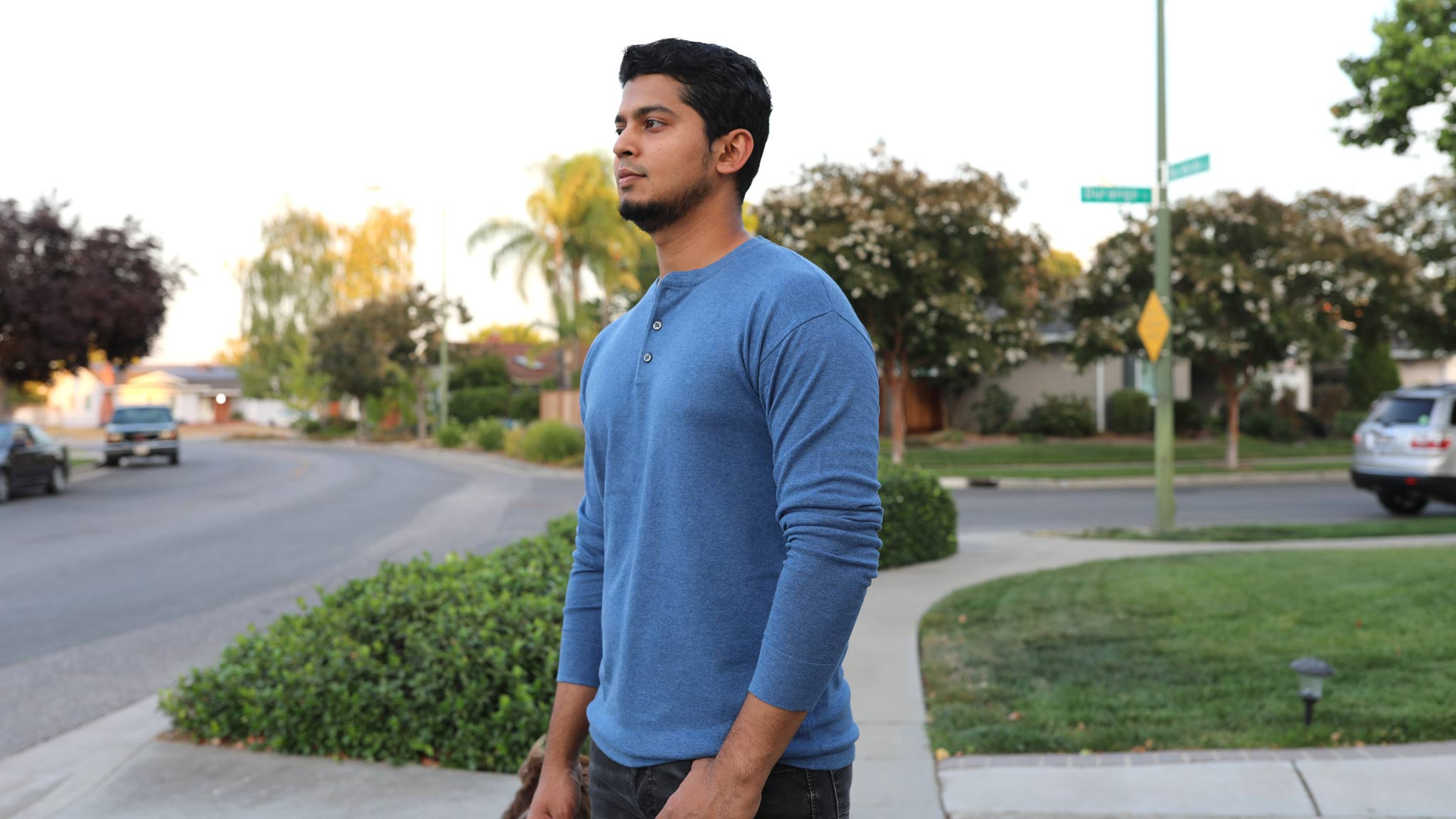 Men's Cotton-Blend Henley Sweater