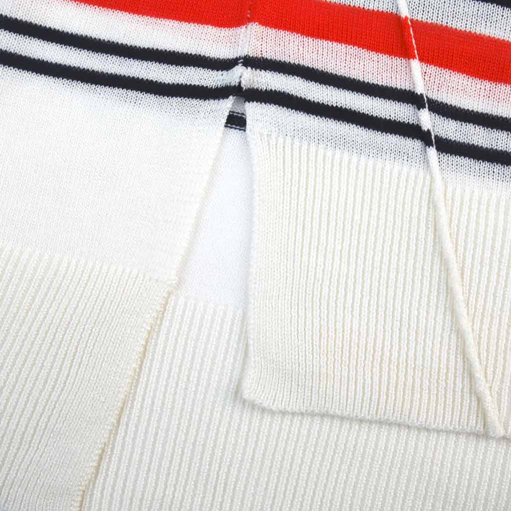 Women's Contrast Striped V-Neck Sweater - Close-up