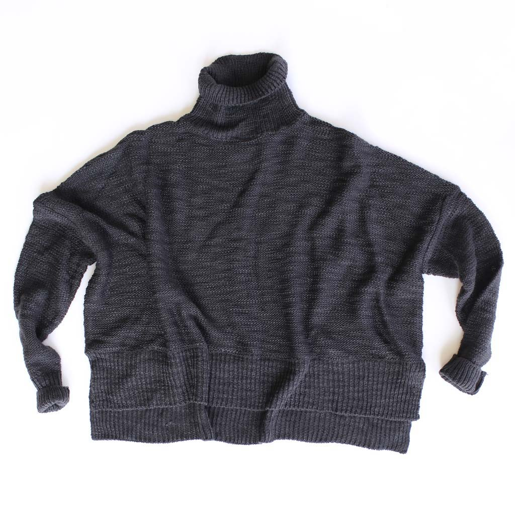 Women's Cropped Acrylic Turtleneck Sweater - Bird's Eye