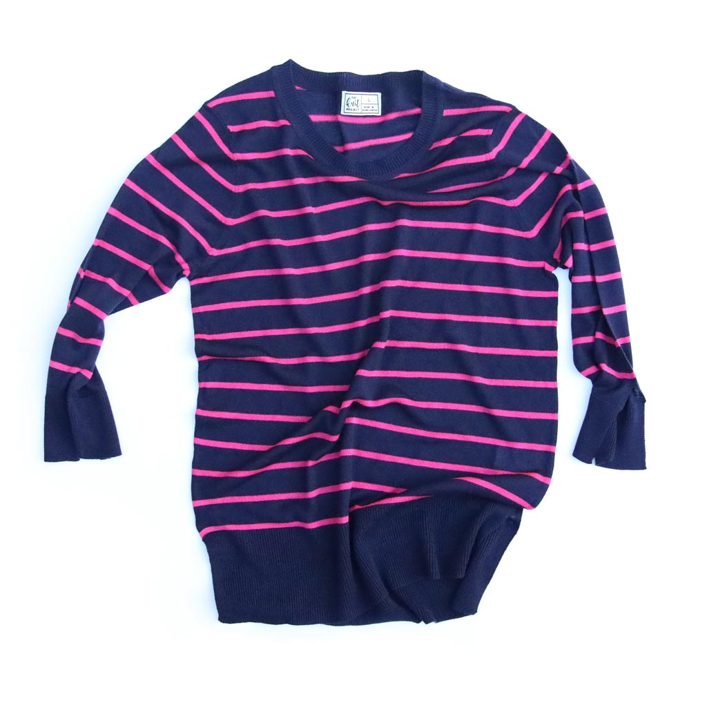 Women's Fitted Striped Crewneck Sweater - Bird's Eye