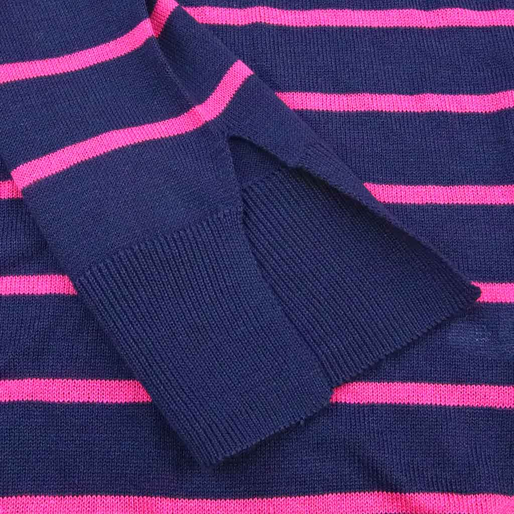 Women's Fitted Striped Crewneck Sweater - Close-up