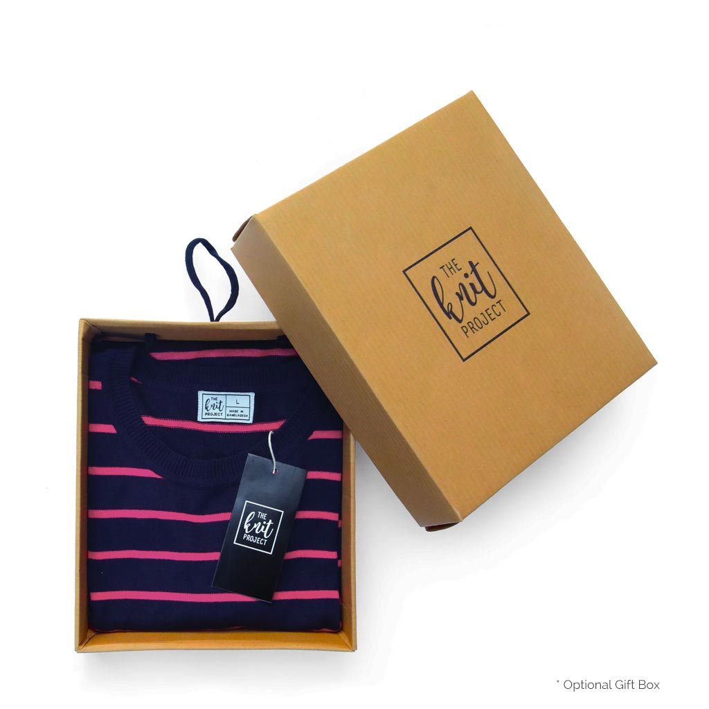 Women's Fitted Striped Crewneck Sweater - Box