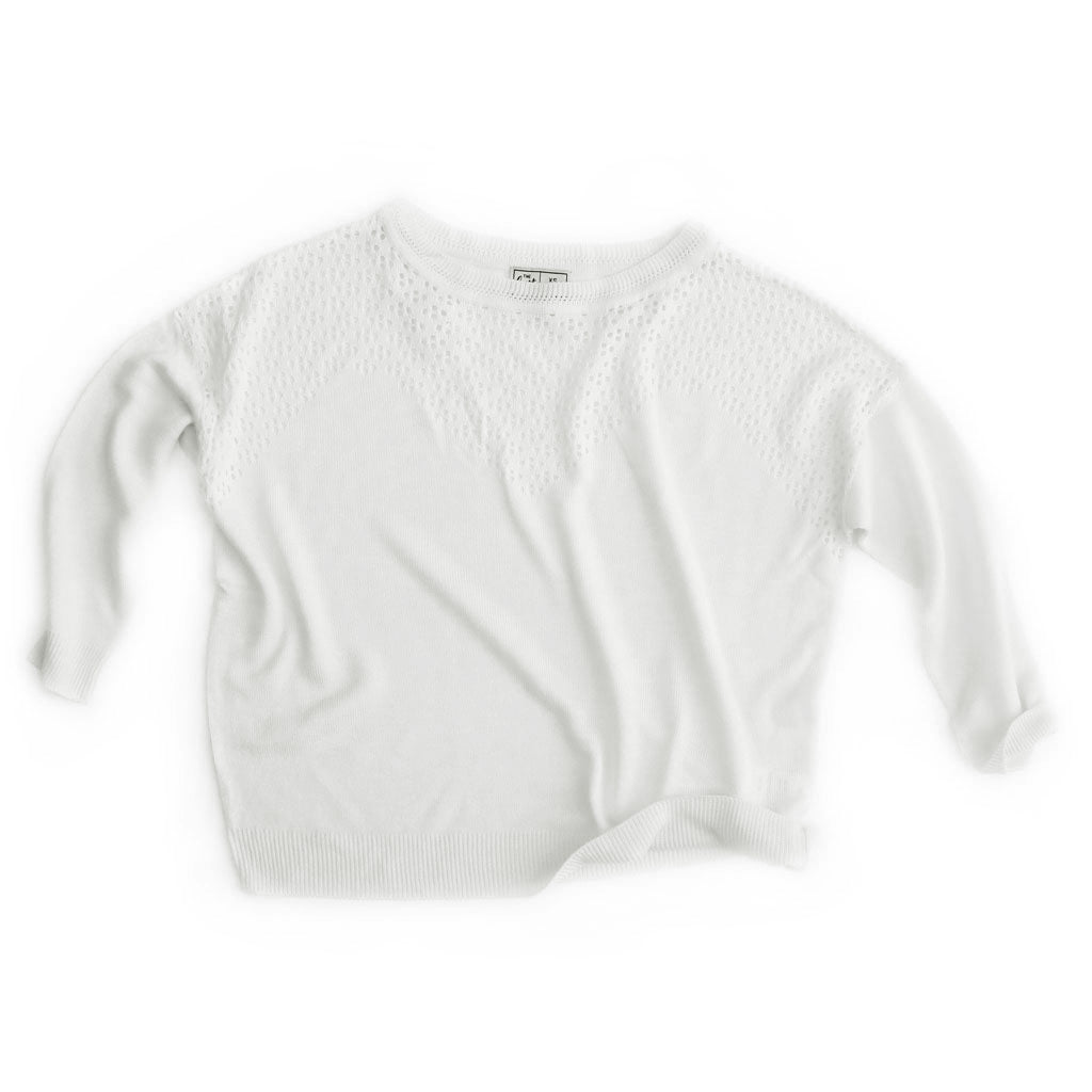 Women's Loose-Fit Pointelle Boat-Neck Sweater - Bird's Eye