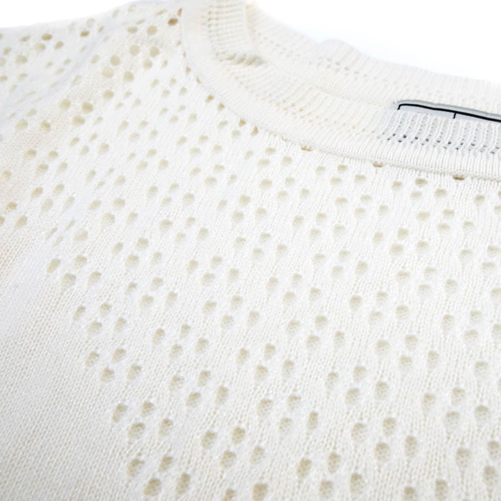 Women's Loose-Fit Pointelle Boatneck Sweater - Close-up
