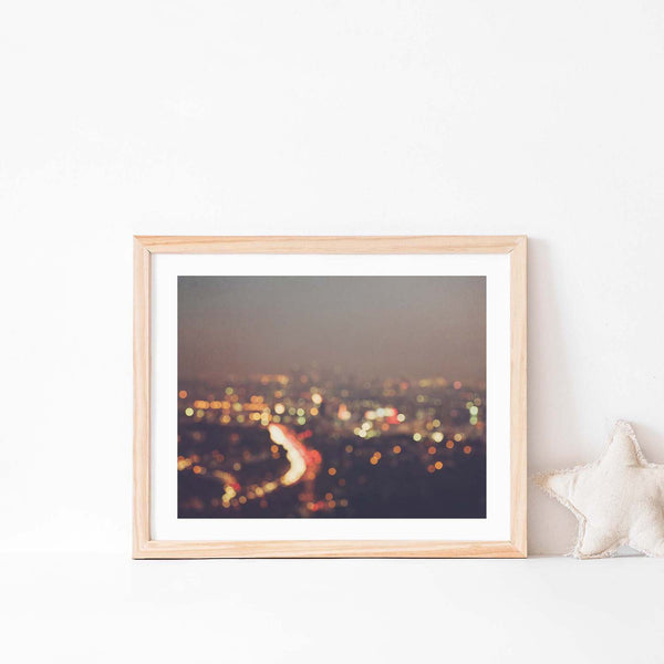 Framed photo of LA at night