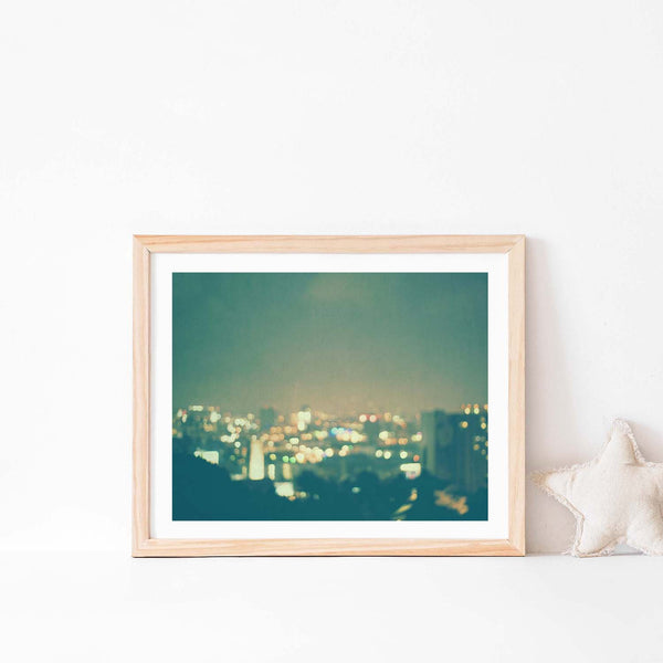 Framed LA Nursery Print. Bokeh Cityscape Artwork