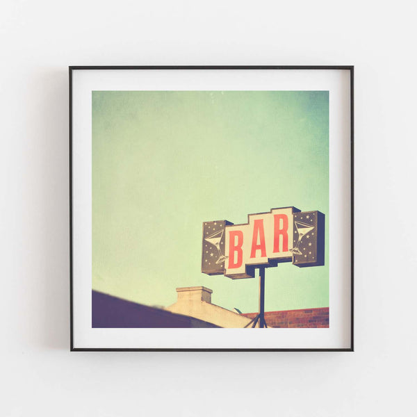Photo of midcentury bar sign. Framed print.