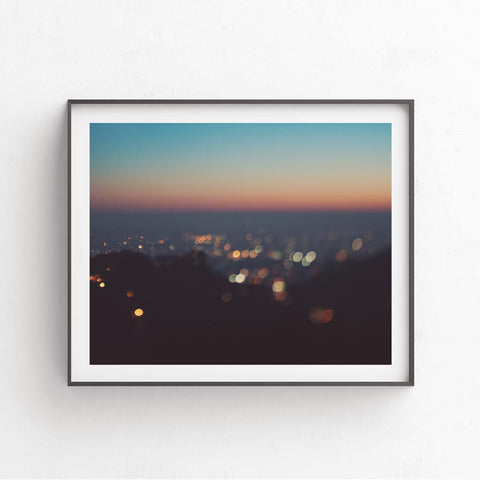 Framed photograph of Los Angeles at sunset.