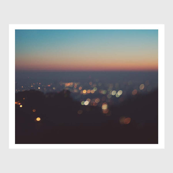Los Angeles cityscape art print. Sunset photograph at night.
