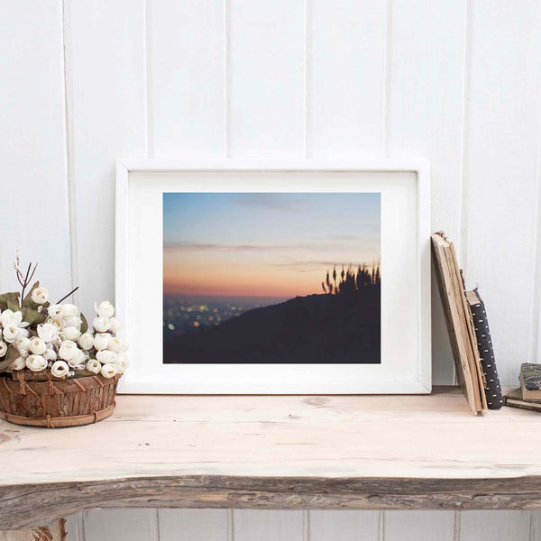 Framed LA sunset photograph. Taken in a canyon.