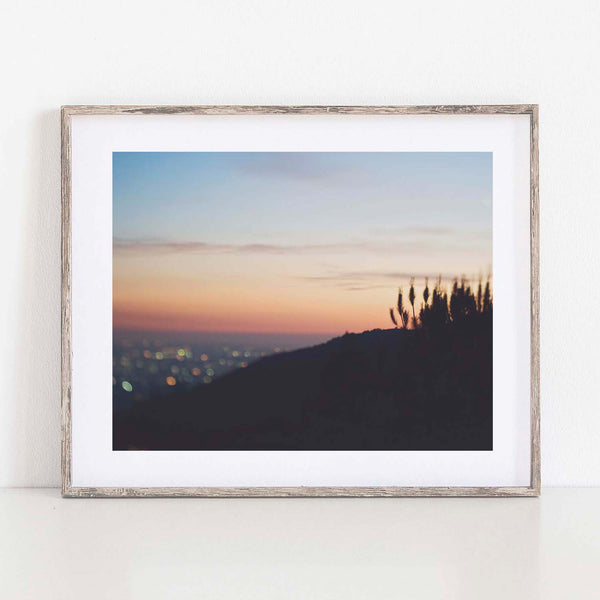 Framed Los Angeles sunset photograph.
