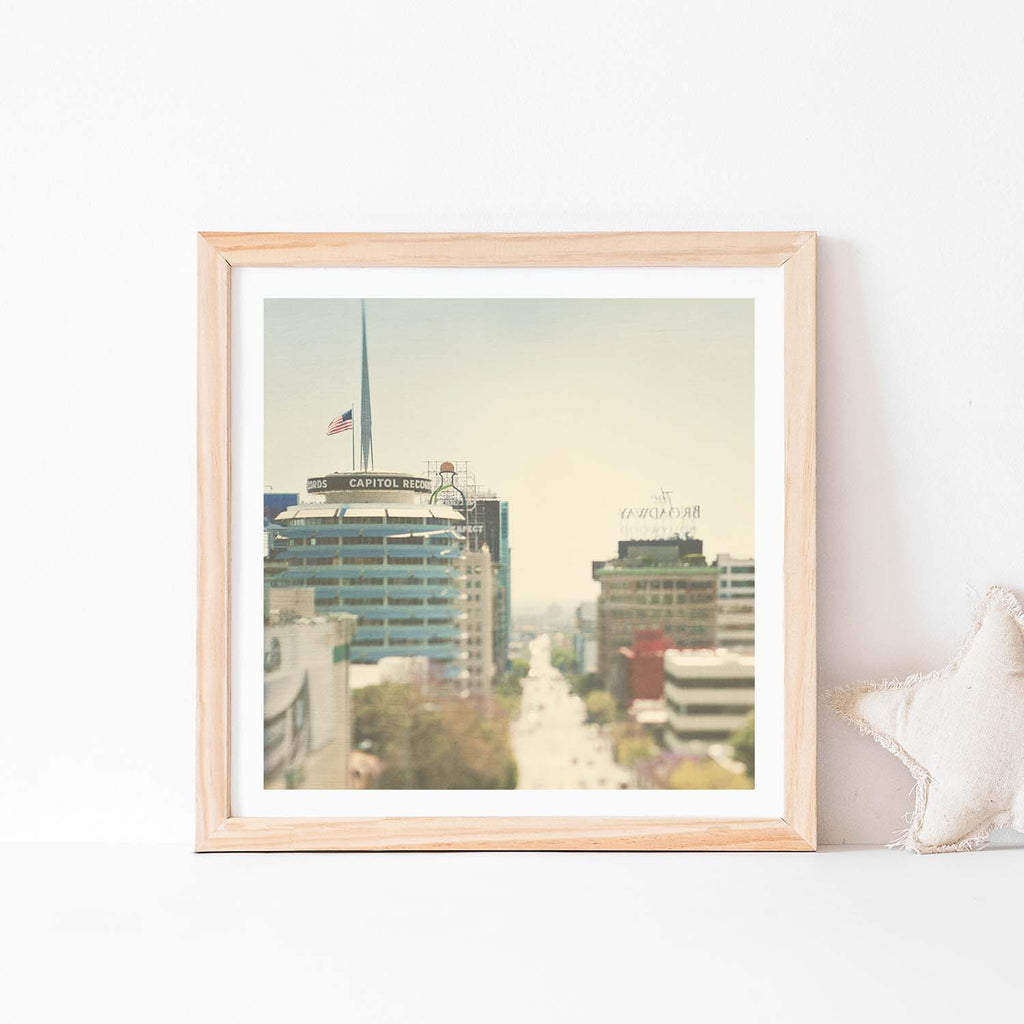 Framed Capitol Records baby nursery print. Dreamy Hollywood photo with cream and blue.