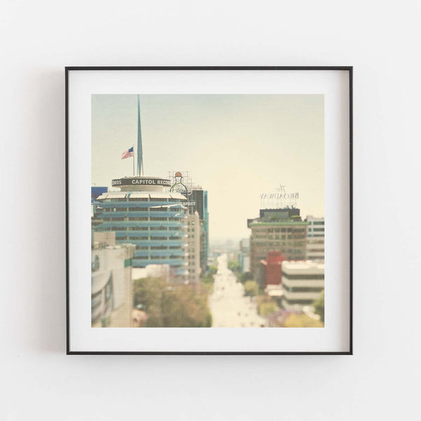 Framed Capitol Records building photograph