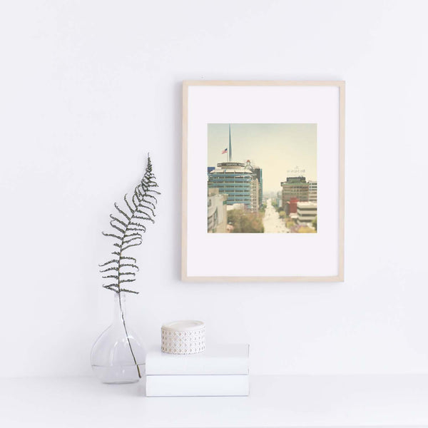 Dreamy Framed print of Hollywood California, includes the Capitol Records building.