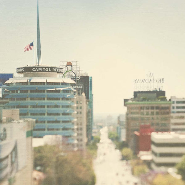 Dreamy Hollywood cityscape photo with Capitol Records building. Neutral white tones.