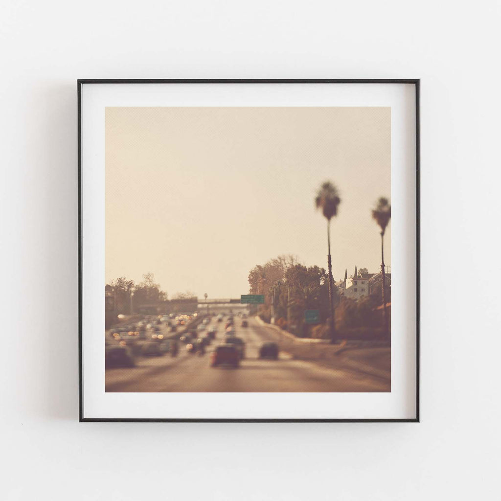 Framed photo of Los Angeles freeway traffic