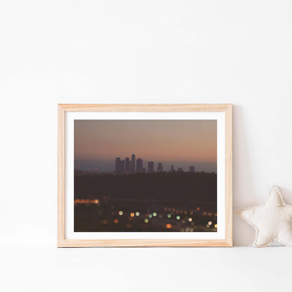Framed print of the Los Angeles skyline at night. With Bokeh lights.