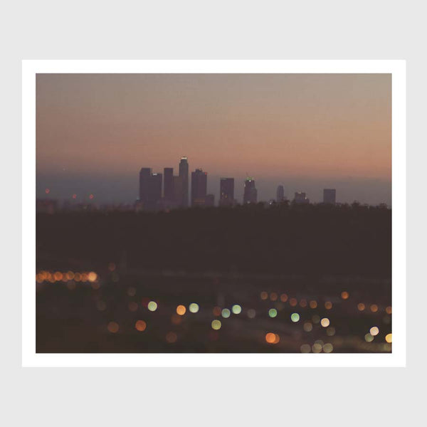 Dreamy photograph of the LA skyline at night.