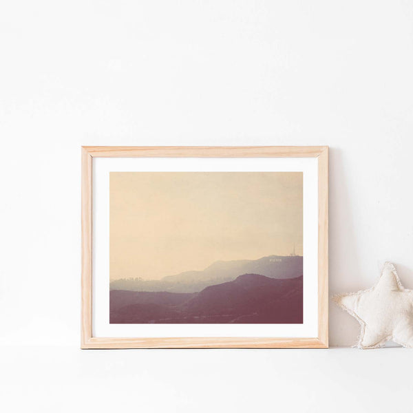 Hollywood Hills photo in a natural wood frame