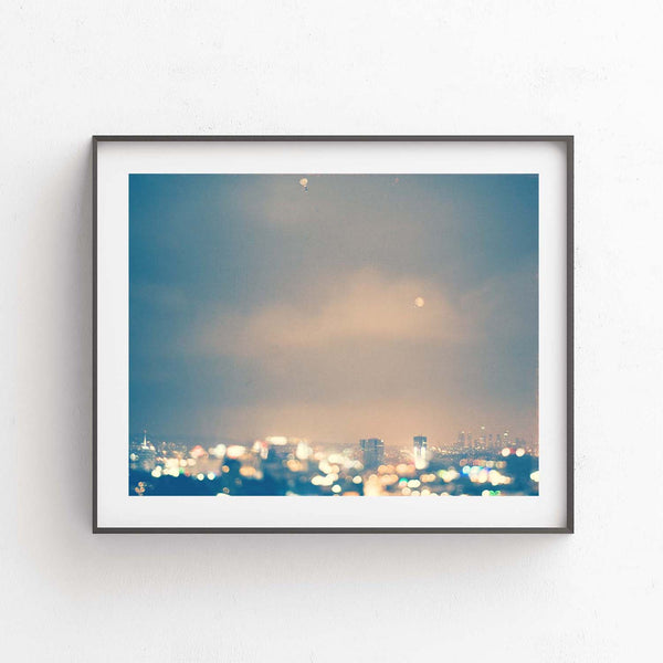 Hollywood cityscape at night photo. Bokeh lights