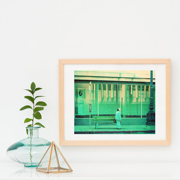 framed Los Angeles photograph, green