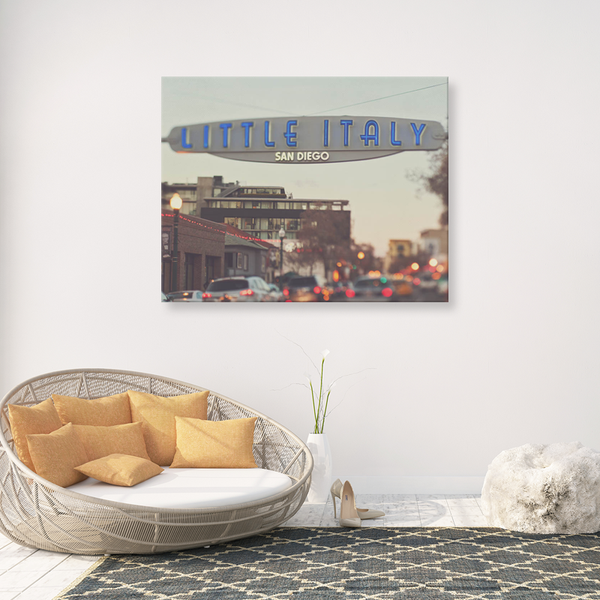photograph of San Diego's Little Italy sign, bokeh photography