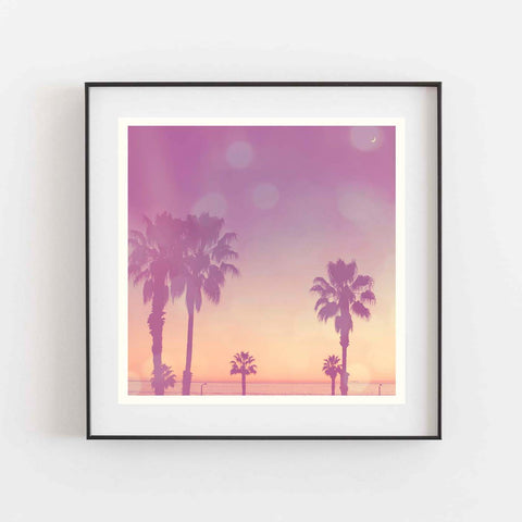 purple and orange sunset photo with palm trees, Los Angeles art