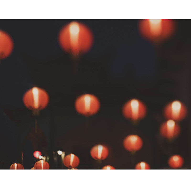 LA's Chinatown at night, paper lanterns photograph