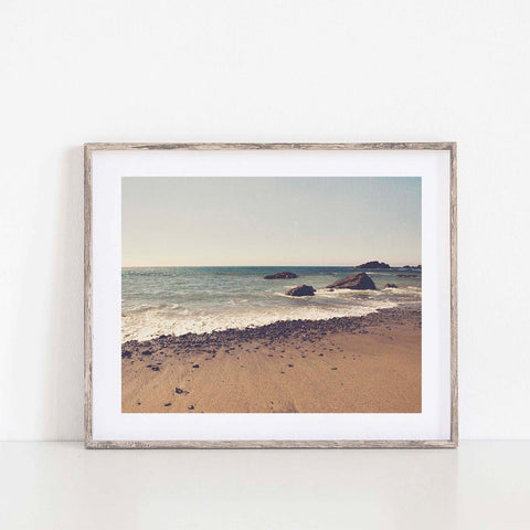 Big Sur beach print, blue and brown