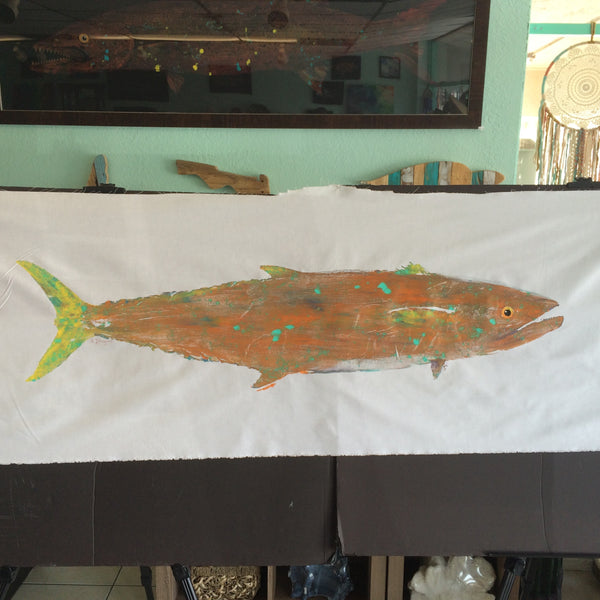 Original Kingfish Gyotaku Fish Rubbing