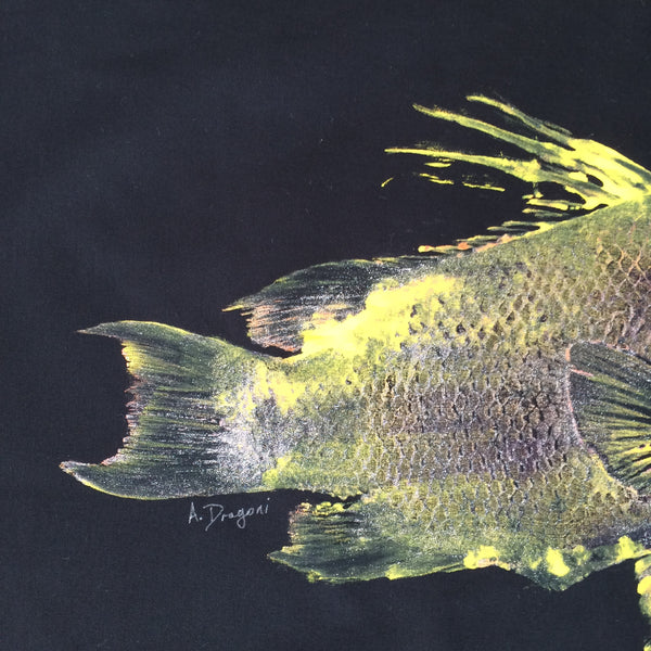 Original Double Hogfish Gyotaku Fish Rubbing by Alex Dragoni