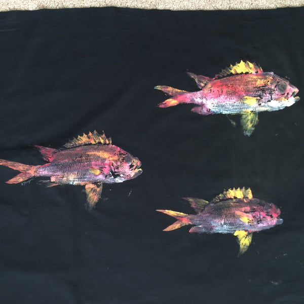 Original Triple Squirrel Fish Gyotaku Fish Rubbing by Alex Dragoni