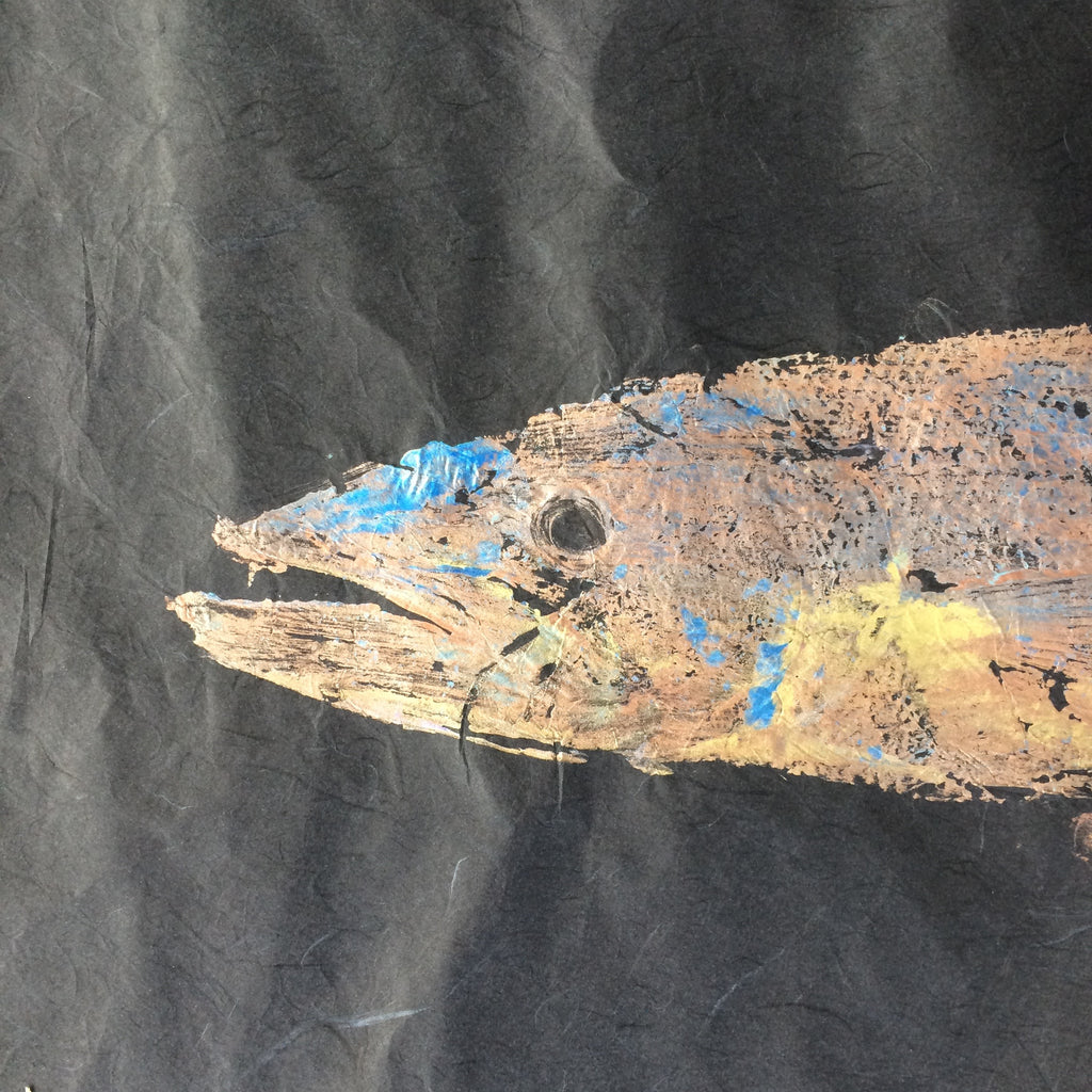 Barracuda Original Gyotaku Fish Rubbing by Alex Dragoni