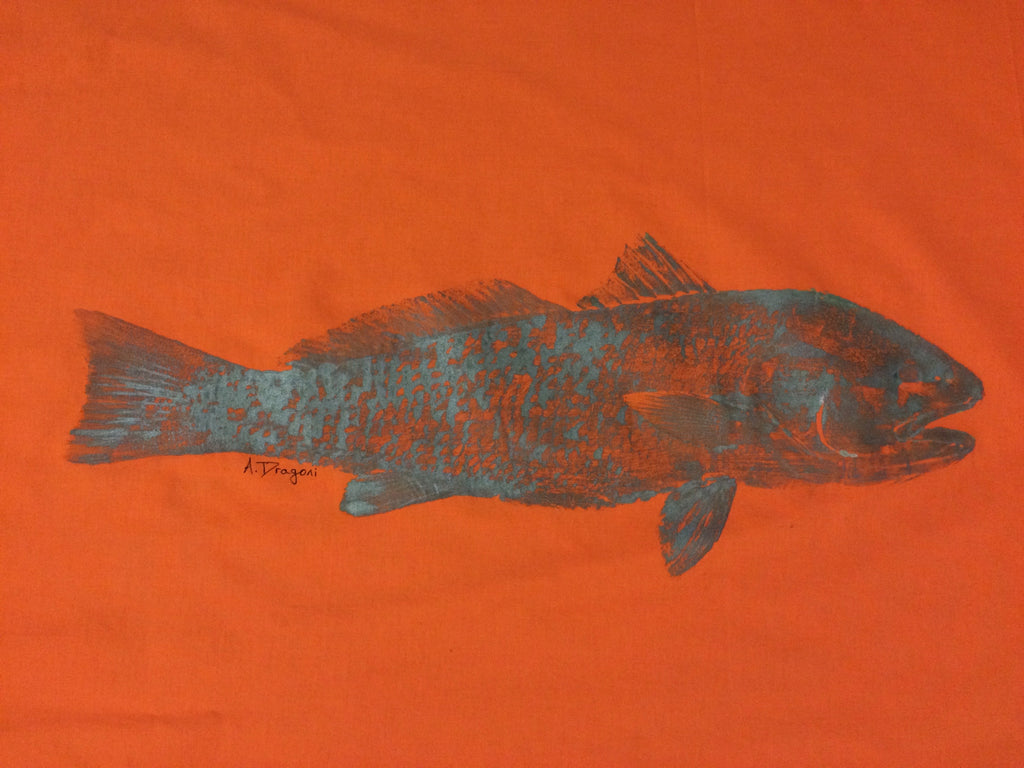 Original Redfish Gyotaku Fish Rubbing by Artist Alex Dragoni