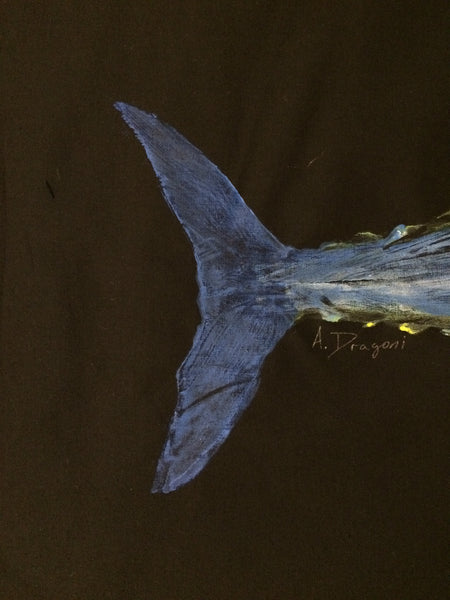 Original Bonita Gyotaku Fish Rubbing by Artist Alex Dragoni