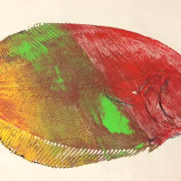 Original Gyotaku Fish Rubbing Flounder By Alex Dragoni
