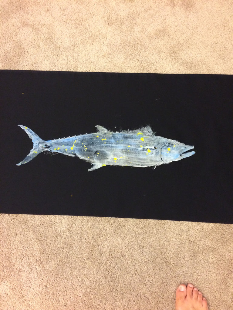 Original Gyotaku Spanish Mackerel Fish Rubbing by Alex Dragoni