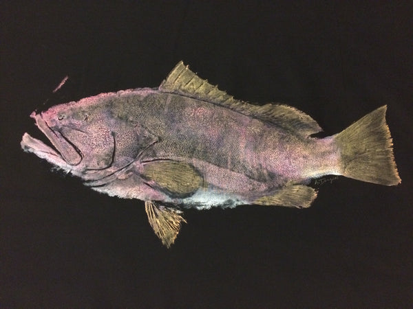 Original Gyotaku Red Grouper Fish Rubbing by Alex Dragoni