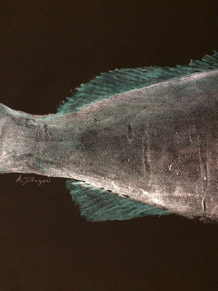 Original Gyotaku Black Grouper Fish Rubbing by Alex Dragoni