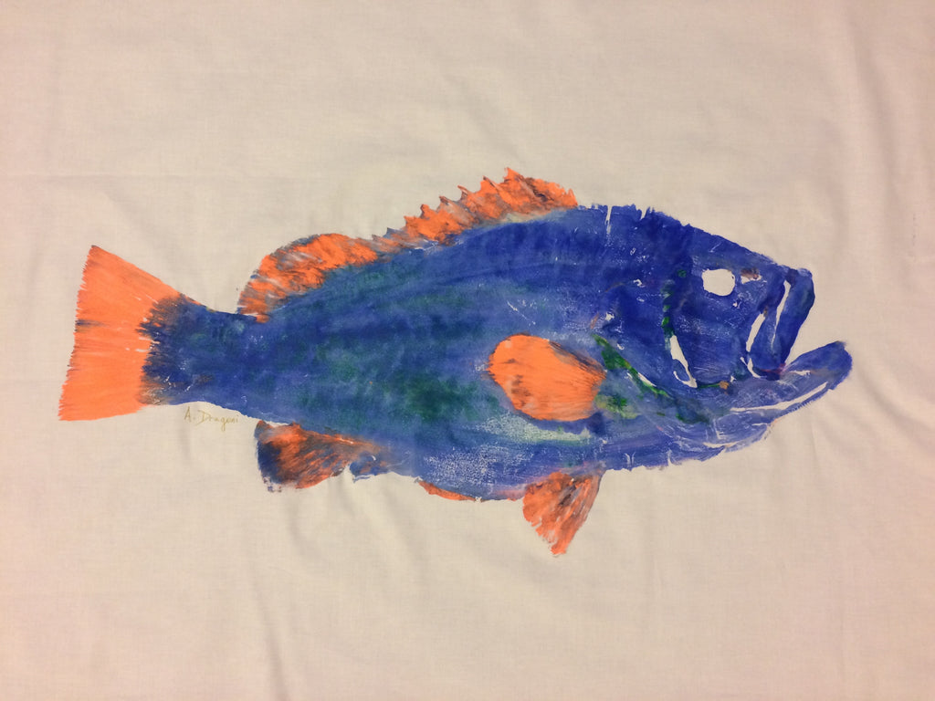 Original Gyotaku Speckled Hind Grouper(Kitty Mitchell) Fish Rubbing by Alex Dragoni