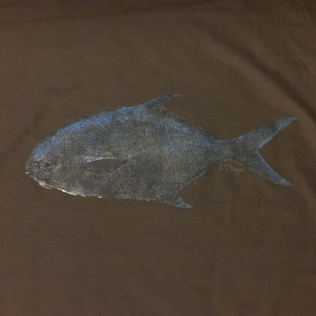 Original Pompano Gyotaku Fish Rubbing By Alex Dragoni