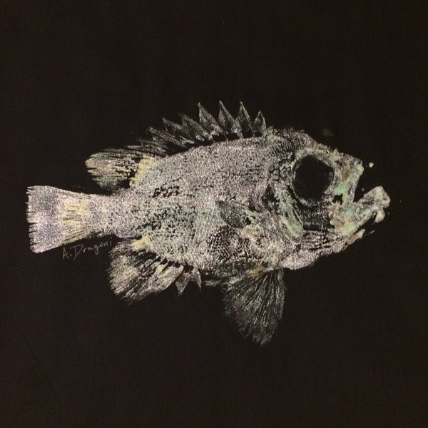 Original Toro BullEye Gyotaku Fish Rubbing By Alex Dragoni
