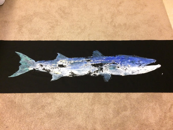 XL Barracuda Loose Original Gyotaku Fish Rubbing by Alex Dragoni