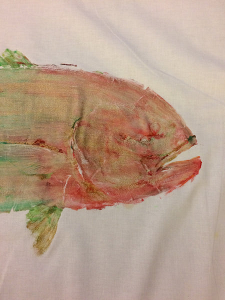 Original Giant Jack Crevalle Gyotaku Fish Rubbing By Alex Dragoni