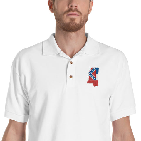 Mississippi State Pride Embroidered Polo Shirt