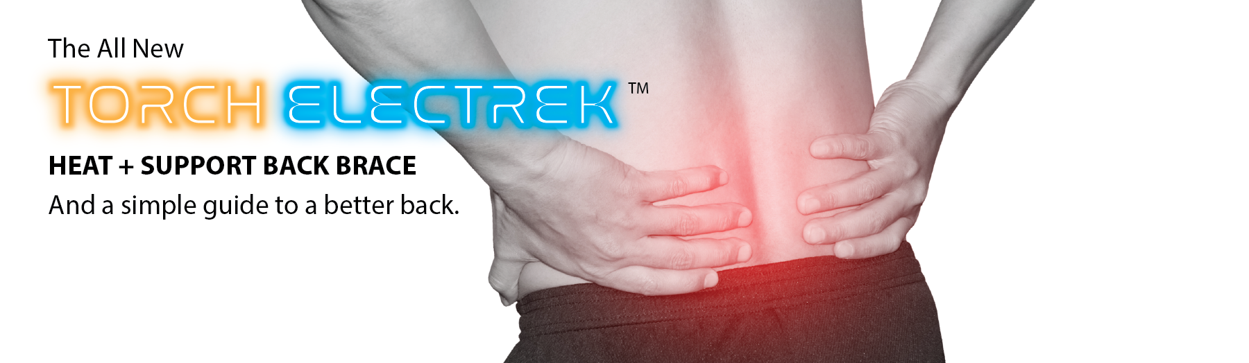 torch electrek heat + support back brace low back lumbar support for men and women.  battery powered adjustable rechargeable heat at the touch of a button