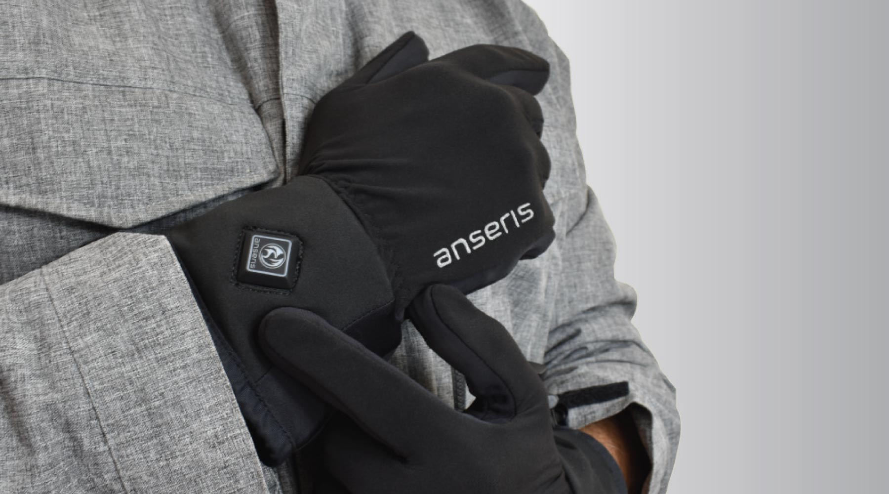 battery powered heated glove liners by anseris feature easy on and off, with adjustable temperatures and a liner style that can be worn under any other glove or mitten outer shell