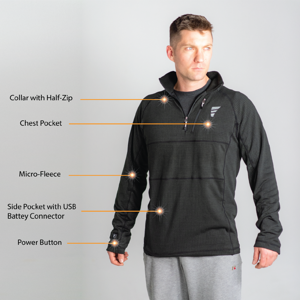voted the best heated base layer shirt in 2020, this shirt by anseris heated clothing is stylish and hides the most sophisticated heated system.  features an easy to access power button, with push button heat control, a hidden battery pocket