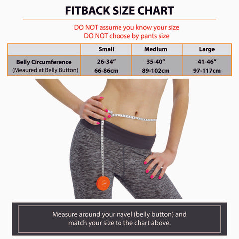 fitback heated back brace lumbar support with adjustable heat size chart